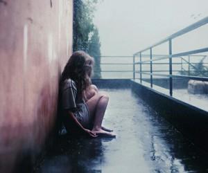 girl, rain, and alone image