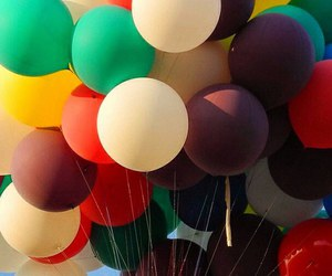 balloons, up, and colorful image