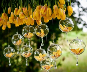 flowers, tulips, and hanging lights image
