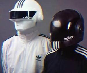 adidas, daft punk, and black & white image