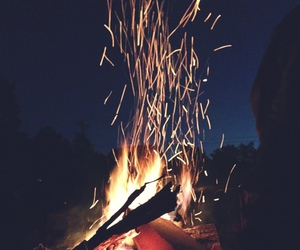 bonfire, fire, and night image