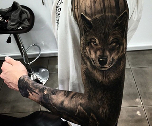 tattoo, wolf, and black image