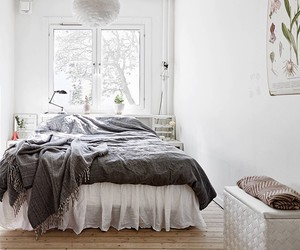bedroom, grey, and white image