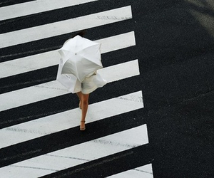 girl, street, and umbrella image