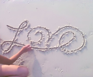 love, beach, and sand image