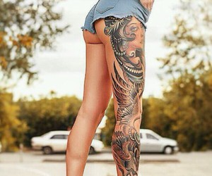 tattoo, leg, and legs image
