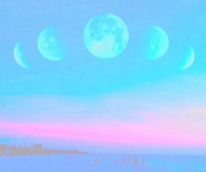 moon, blue sky, and pastel image