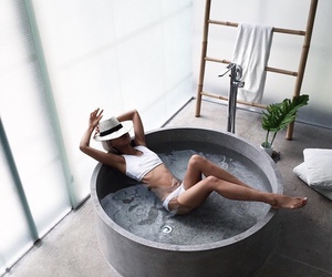 bath, hat, and style image