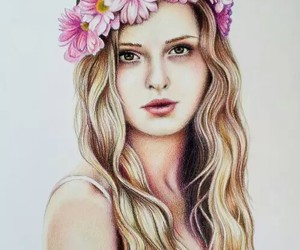drawing, flowers, and blonde image