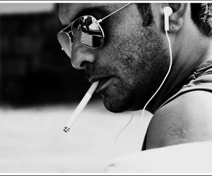 black and white, glasses, and ipod image