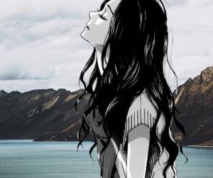 anime, b&w, and drowning image