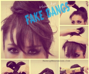 hair, bangs, and fake image