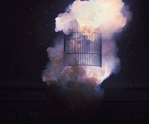 cage, art, and clouds image