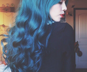 beautiful, blue hair, and curly image