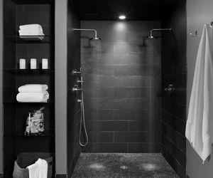 black, man, and bathroom.shower image