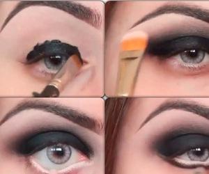beauty, makeup, and black eye shadow image