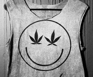 weed, black and white, and marijuana image