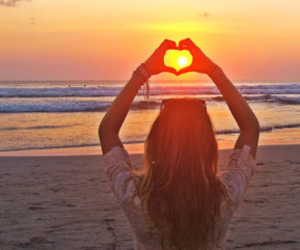 girl, beach, and heart image