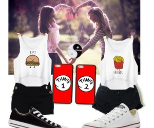 best friends, fashion, and Polyvore image