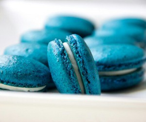 blue, macaroons, and food image