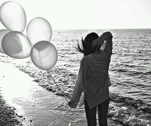 girl, beach, and balloons image