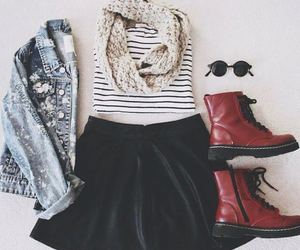 outfit, skirt, and boots image