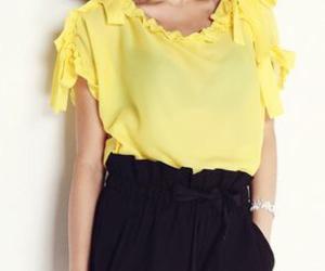 asian fashion, black and yellow, and kfashion image