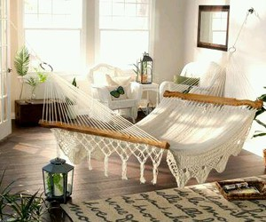 bedroom, decoration, and hammock image