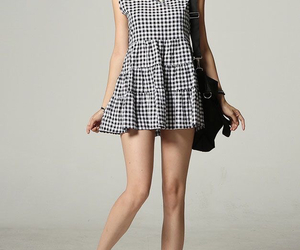 asian fashion, black and white, and checks image