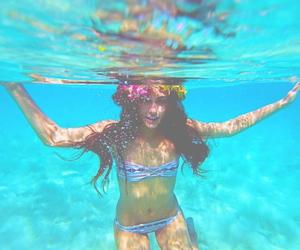 underwater, beach, and girl image