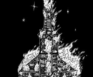 burning church and wirosatan image