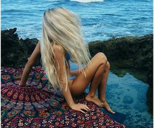 blonde hair, night, and beach life image