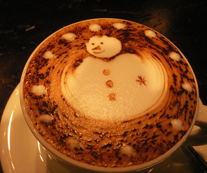 snowman, coffee, and christmas image