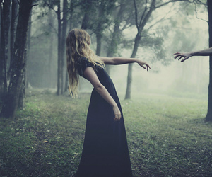 dark, forest, and black dress image