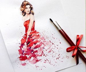artist, lady in red, and fashion image