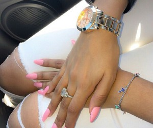 jeans, pink, and watch image