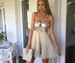 fashion, sequin dress, and tulle image