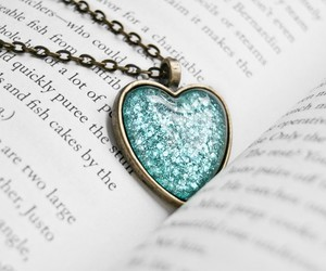 book, heart, and blue image