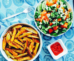 food, fries, and salad image