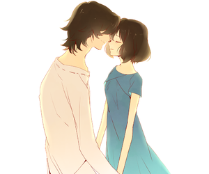 anime, couple, and wolf children image