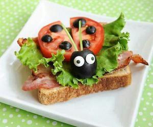 food, sandwich, and ladybug image