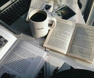 book, coffee, and study image