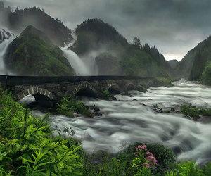 nature, norway, and bridge image