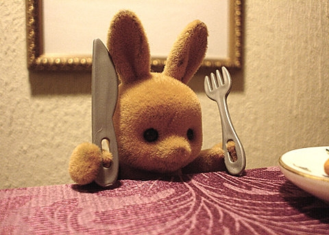 cute, bunny, and fork image