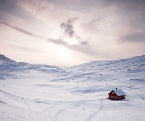 landscape, snow, and house image
