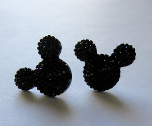 black, earrings, and mickey image