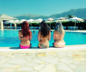 blondie, brunette, and pool image