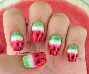 beach, fruit, and nail art image