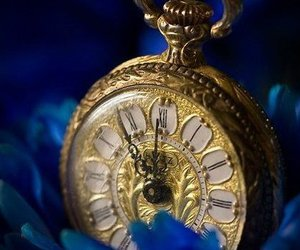 blue, clock, and gold image