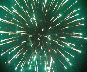 green, fireworks, and lights image